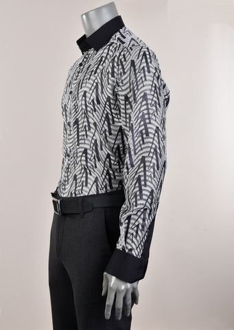 "Gray Black Sheer ""Domenico"" Long Sleeve Shirt"