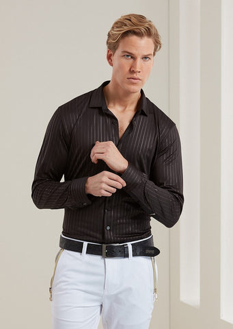 Black Shiny Tonal Stripe Long Sleeve Shirt