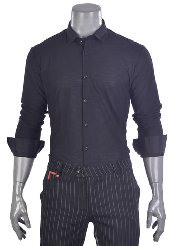 "Black Semi-See-through ""Stefano"" Long Sleeve Shirt"