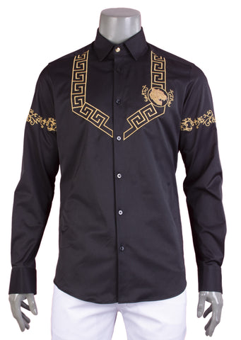 Black Gold Meander Embroidery Long Sleeve Shirt