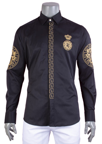 Black Gold Tiger Embroidery Long Sleeve Shirt