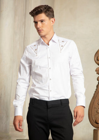 "White ""Metal Accessories"" Detailed Long Sleeve Shirt"