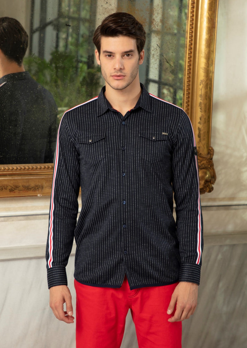Navy Band Sleeve Stripe Knit Shirt