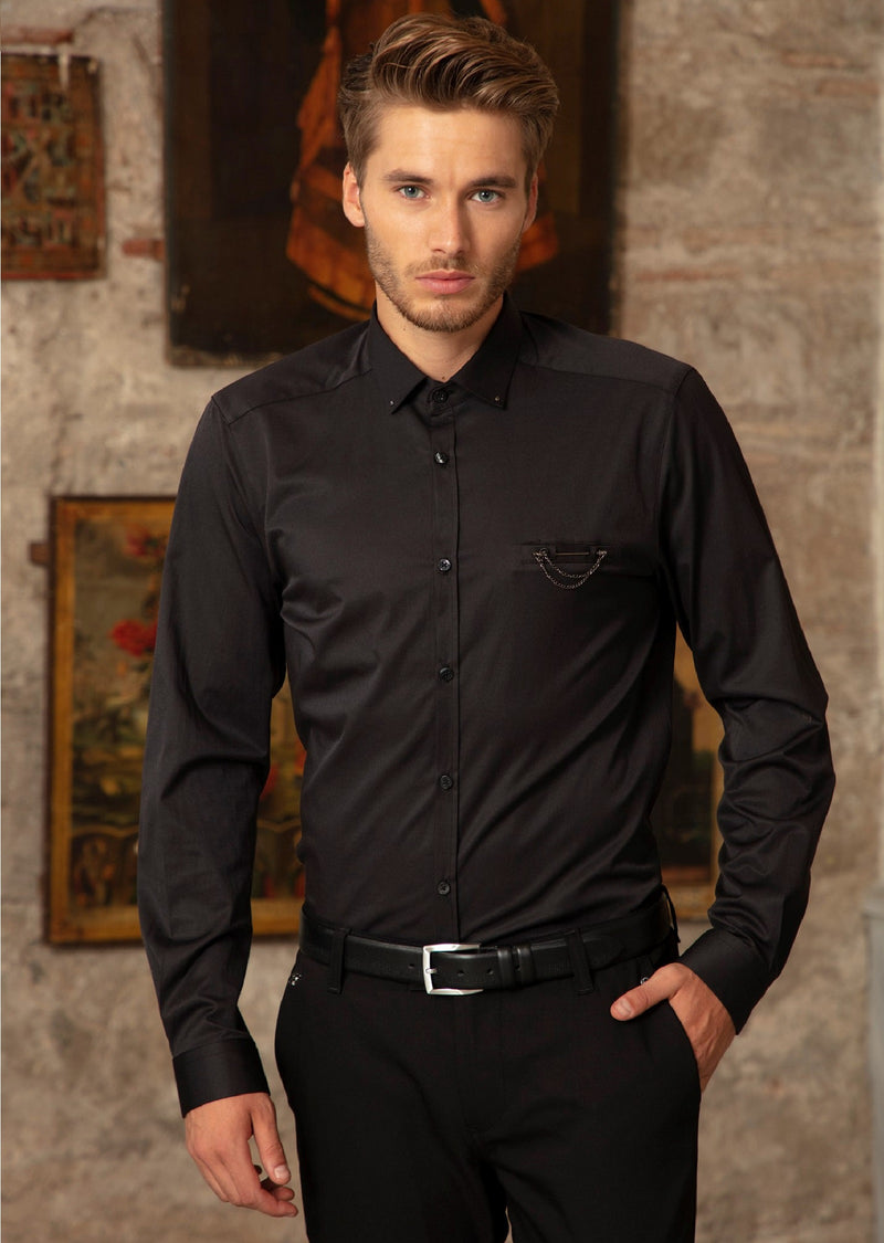 Black Pocket Metal Pin Shirt