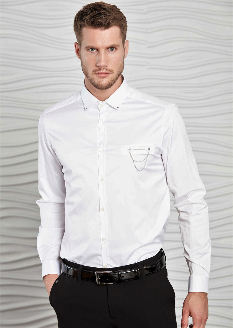 White Pocket Metal Pin Shirt