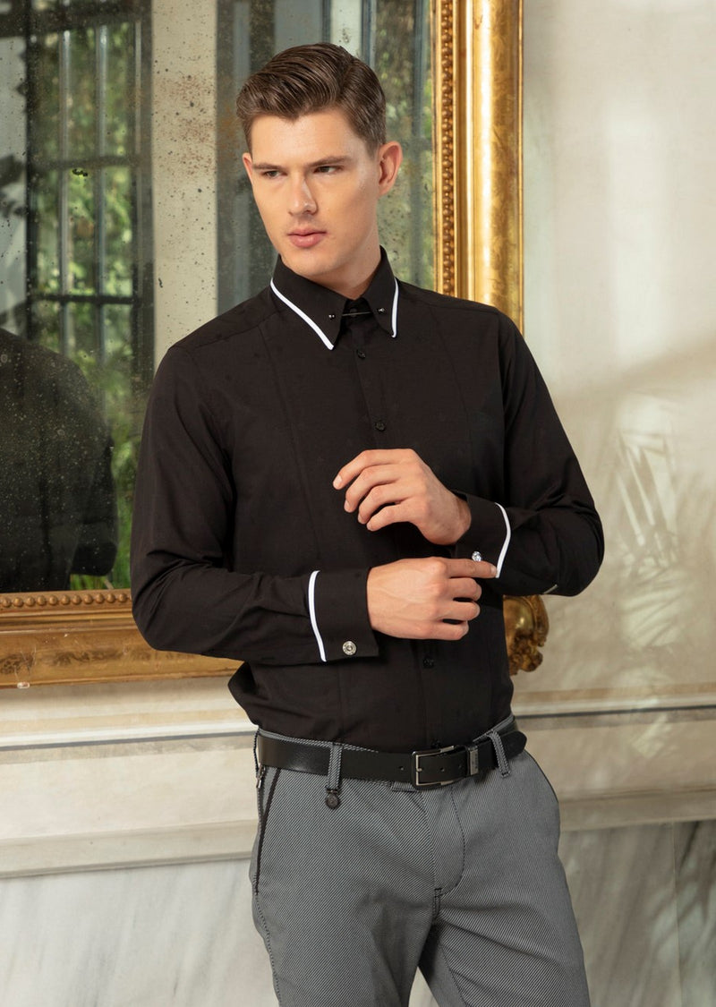 "Black ""Florence"" Metal Pin Collar Shirt"