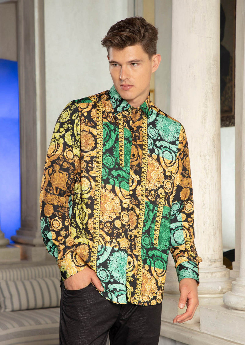 Green Gold Baroque Silky Shirt
