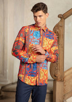 Red Gold Baroque Silky Shirt