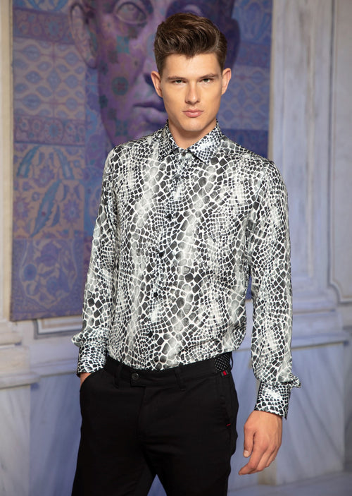 "Black White Mosaic Limited Edition"" Silky Long Sleeve Shirt"