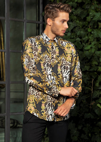 "Black Gold Leopard Print ""Limited Edition"" Silky Long Sleeve Shirt"