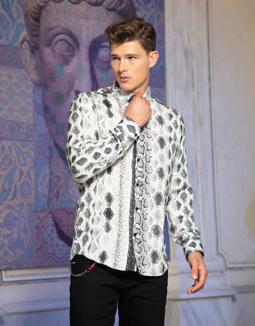 "Black White Snake Skin Print Limited Edition"" Silky Long Sleeve Shirt"