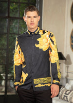 "Black Gold Geo  ""Limited Edition"" Silky Long Sleeve Shirt"