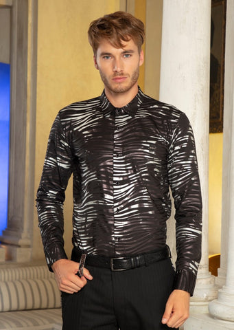 "Black Silver Wave Print ""Limited Edition"" Long Sleeve Shirt"
