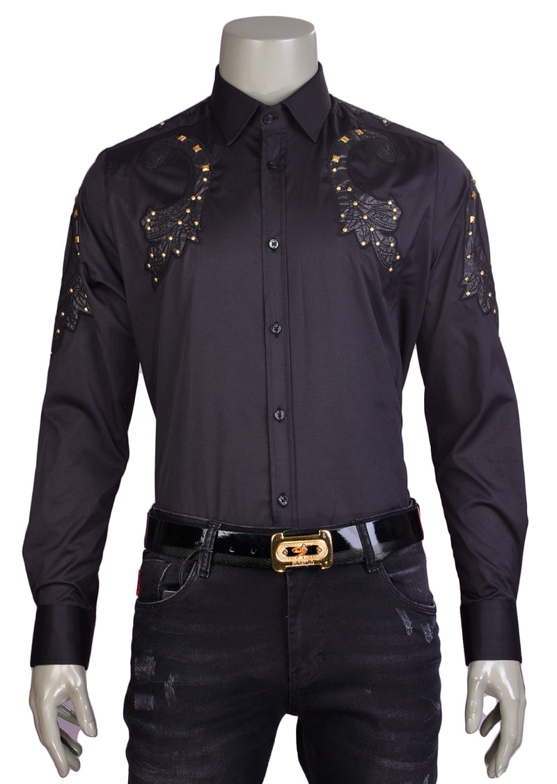 Black Gold Studded Laser Cut Shirt