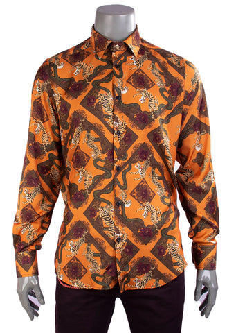Orange Micro Print Long Sleeve Shirt