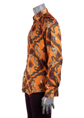"Tiger Print ""Limited Edition"" Silky Long Sleeve Shirt"