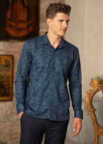 Navy Blue Herringbone Knit Shirt