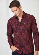 Burgundy Flocked Paisley Shirt