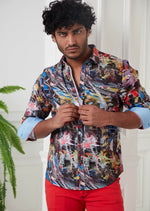 Black Blue Brushstroke Print Shirt