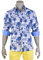 Blue White Floral Print Shirt