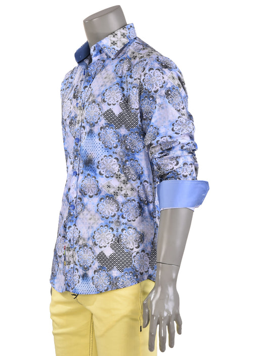 Blue White Bloom Print Shirt