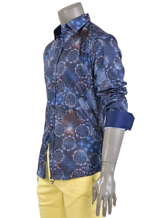 Navy Brown Bloom Print Shirt