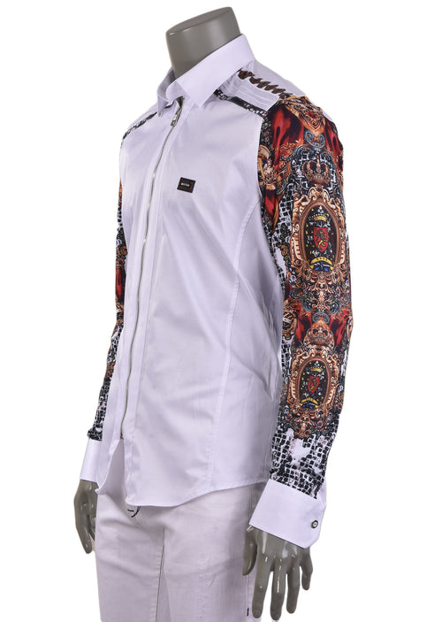 White Mosaic & Crown Silky Shirt