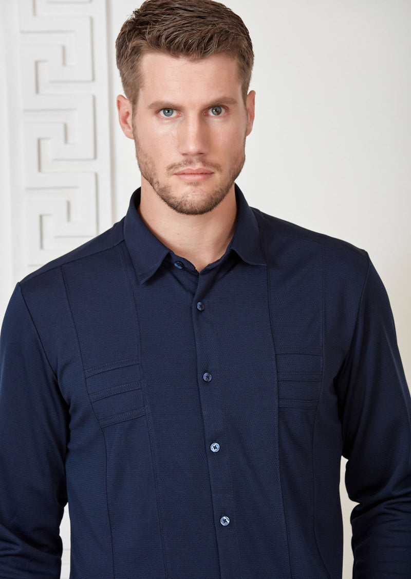 Navy Comfort Luxe Detailed Shirt