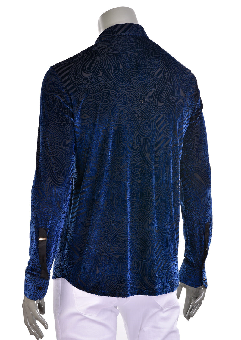 Royal Blue Paisley Velvet Shirt