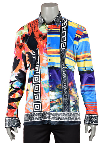 "Sunset Multi-Color ""Limited Edition"" Velvet Long Sleeve Shirt"