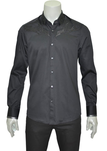 BLACK EMBROIDERY LONG SLEEVE SHIRT