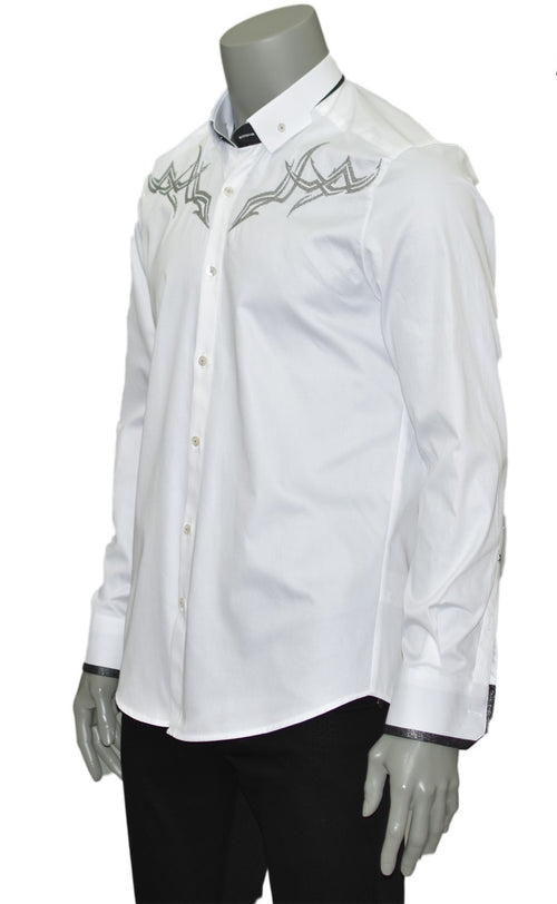 White Embroidery Long Sleeve Shirt