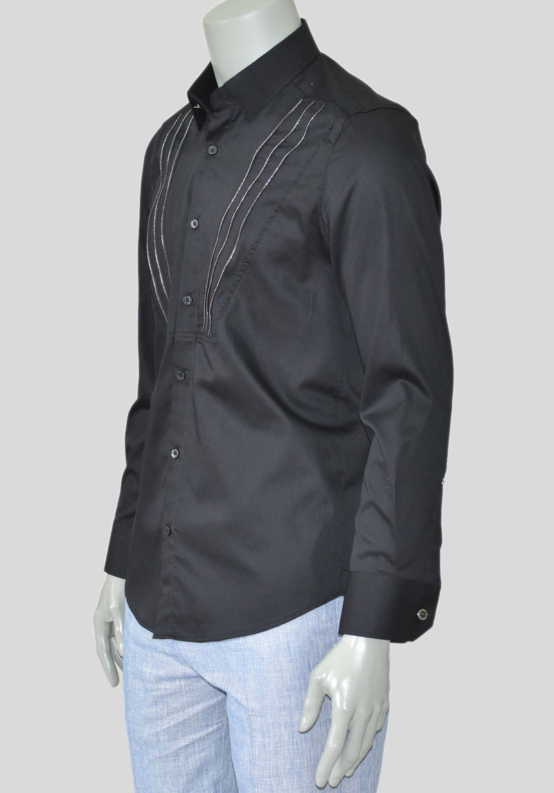 Black V-Shape Zipper Long Sleeve Shirt