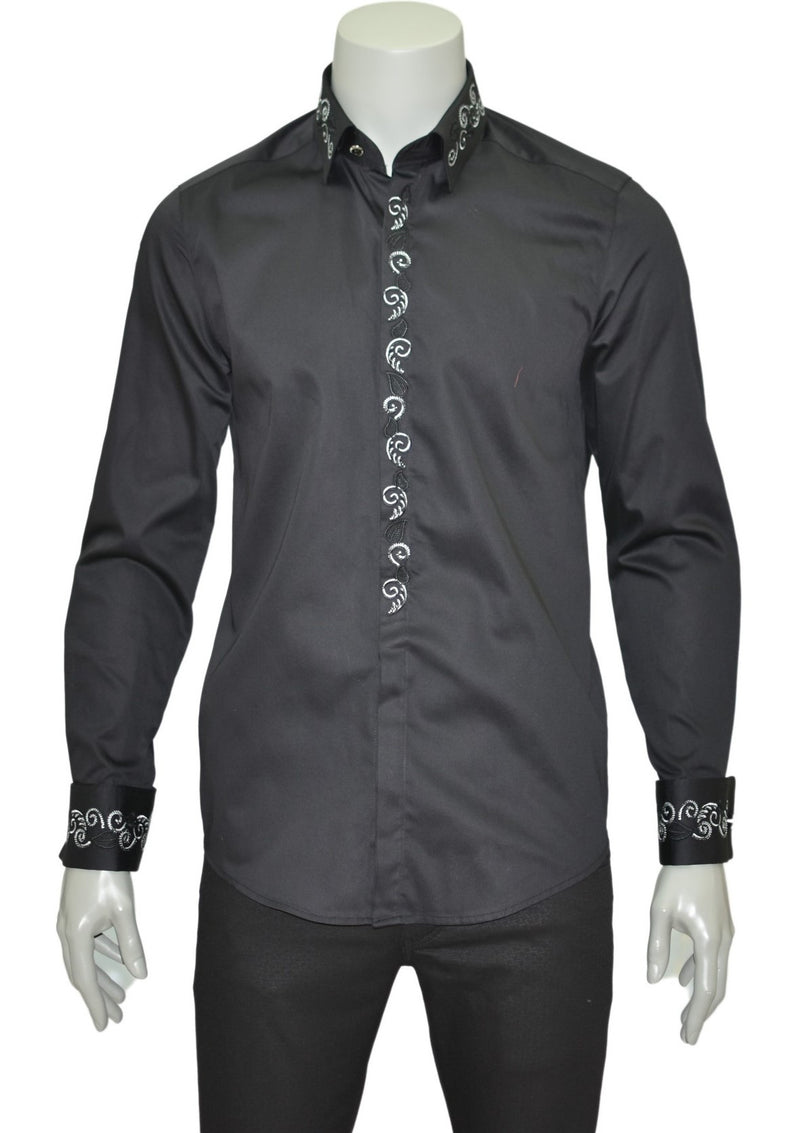 Black Tuxedo Embroidery Long Sleeve Shirt