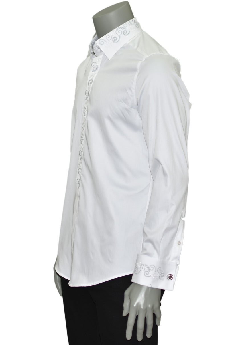 White Tuxedo Embroidery Long Sleeve Shirt