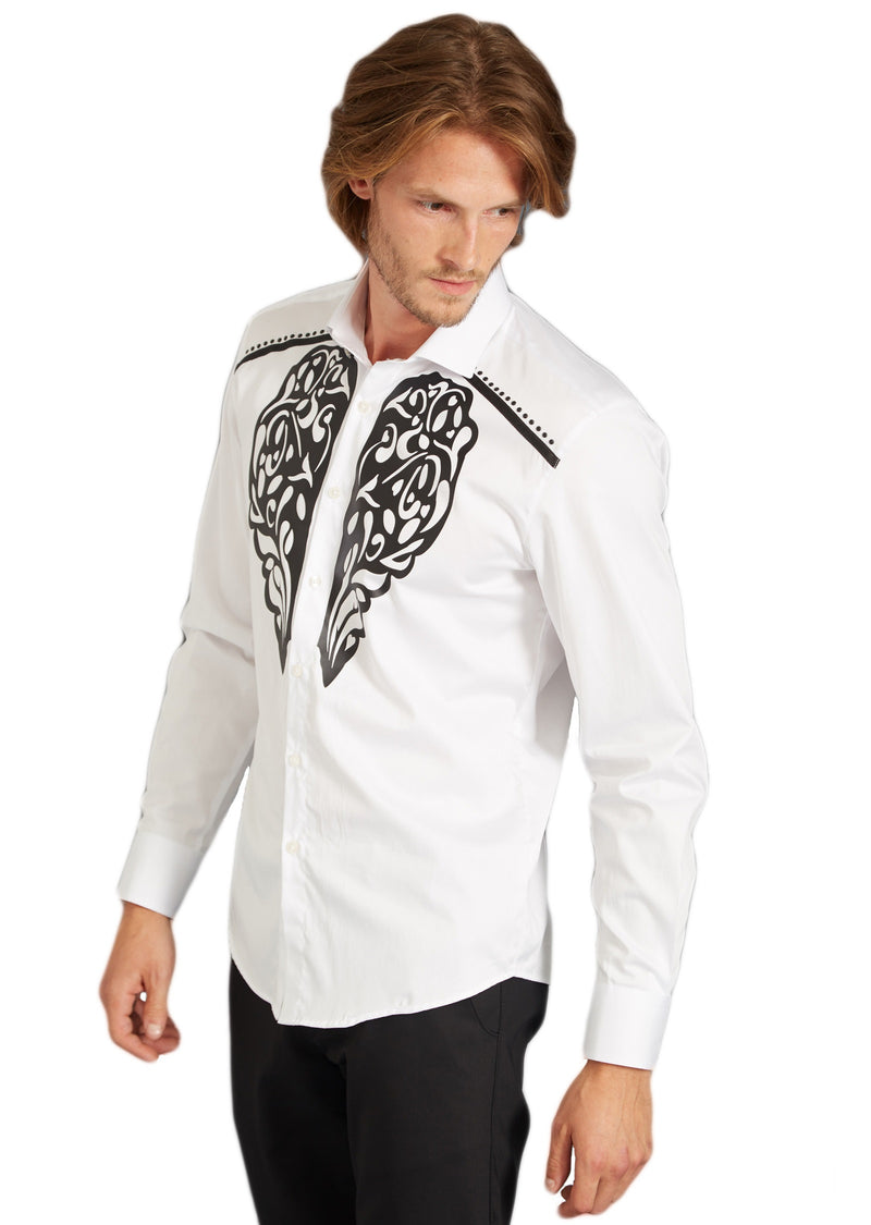 "White ""Silicone"" Print Long Sleeve Shirt"