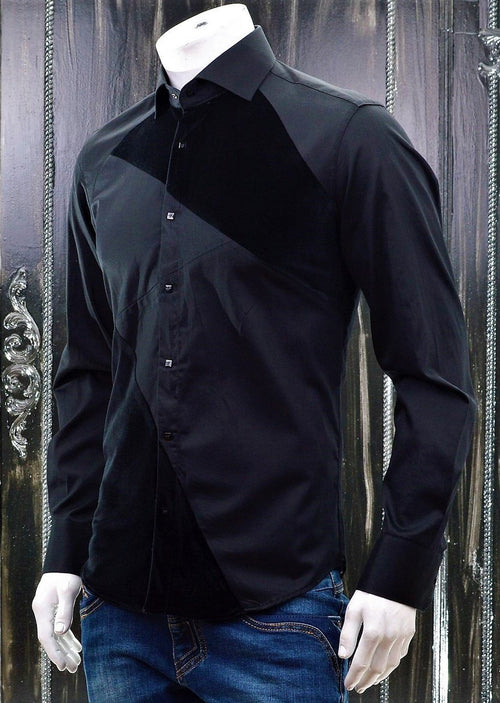 Black Velvet Long Sleeve Shirt