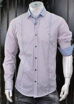 Micro Print White Blue Red Shirt