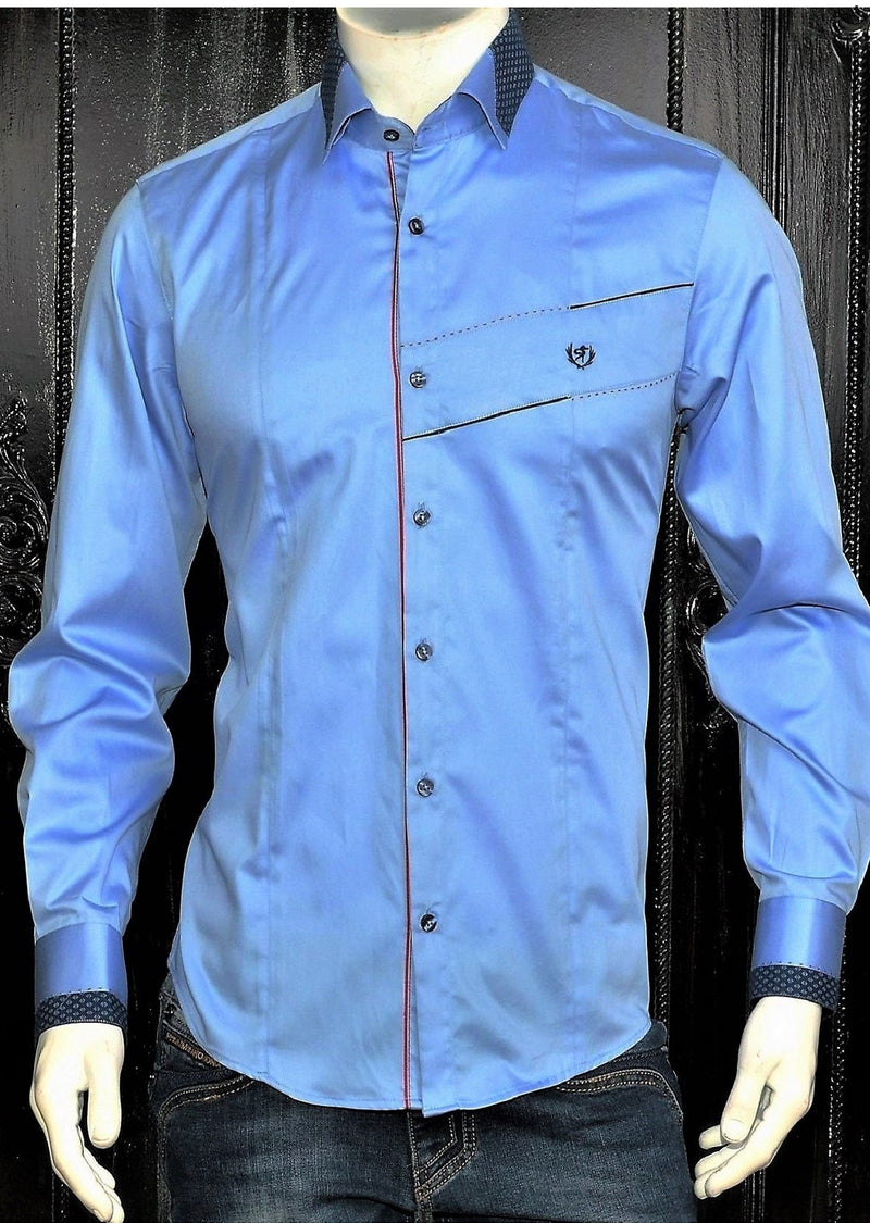"Blue ""Crest"" Long Sleeve Shirt"