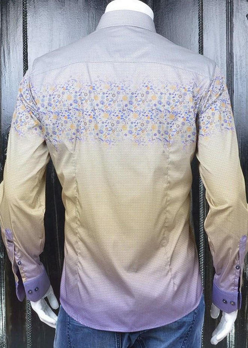 Purple Floral Silky Print Shirt