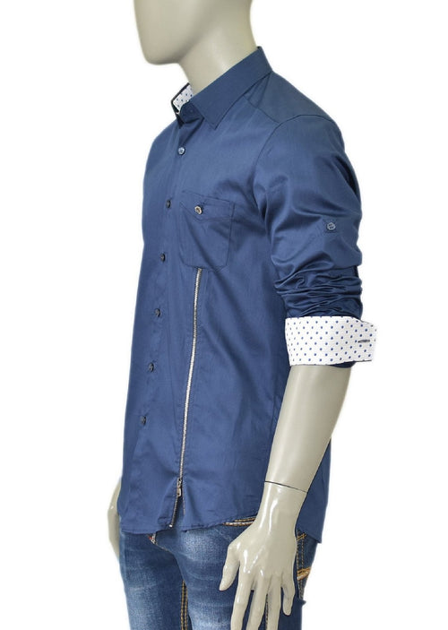 Navy Side Zipper Long Sleeve Shirt