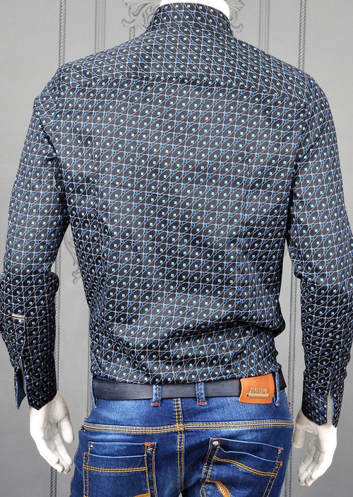 Navy Micro Dot Print Long Sleeve Shirt