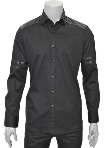 BLACK DELUXE COTTON LEATHER LONG SLEEVE SHIRT