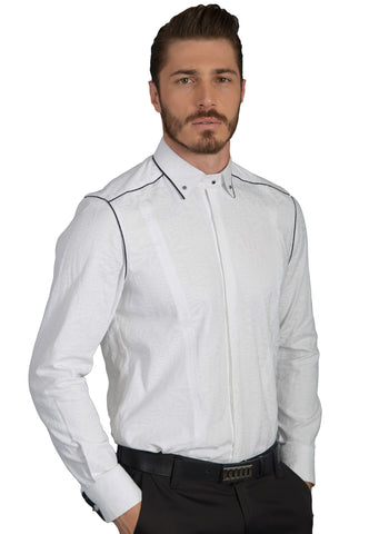 White Black Piped-Trim Long Sleeve Shirt