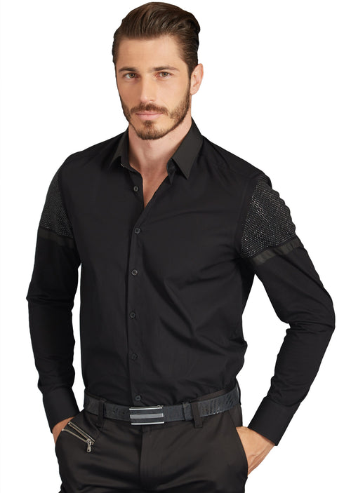 "Black ""Biaggio"" Rhinestone/Knit Sleeves Long Sleeve Shirt"