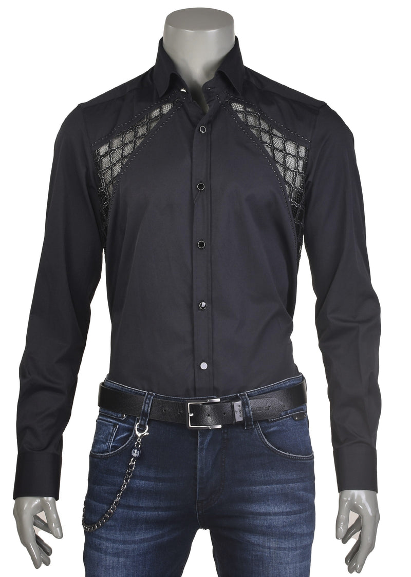 "Black ""Milano"" Lace Studded Shirt"
