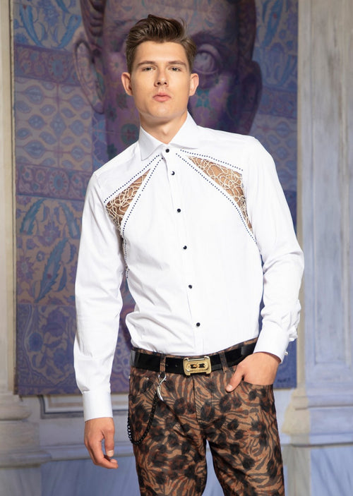 "White ""Milano"" Lace Studded Shirt"