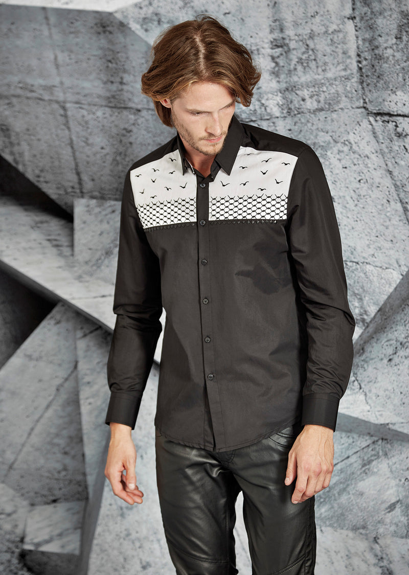 Black Studded Embroidery Shirt