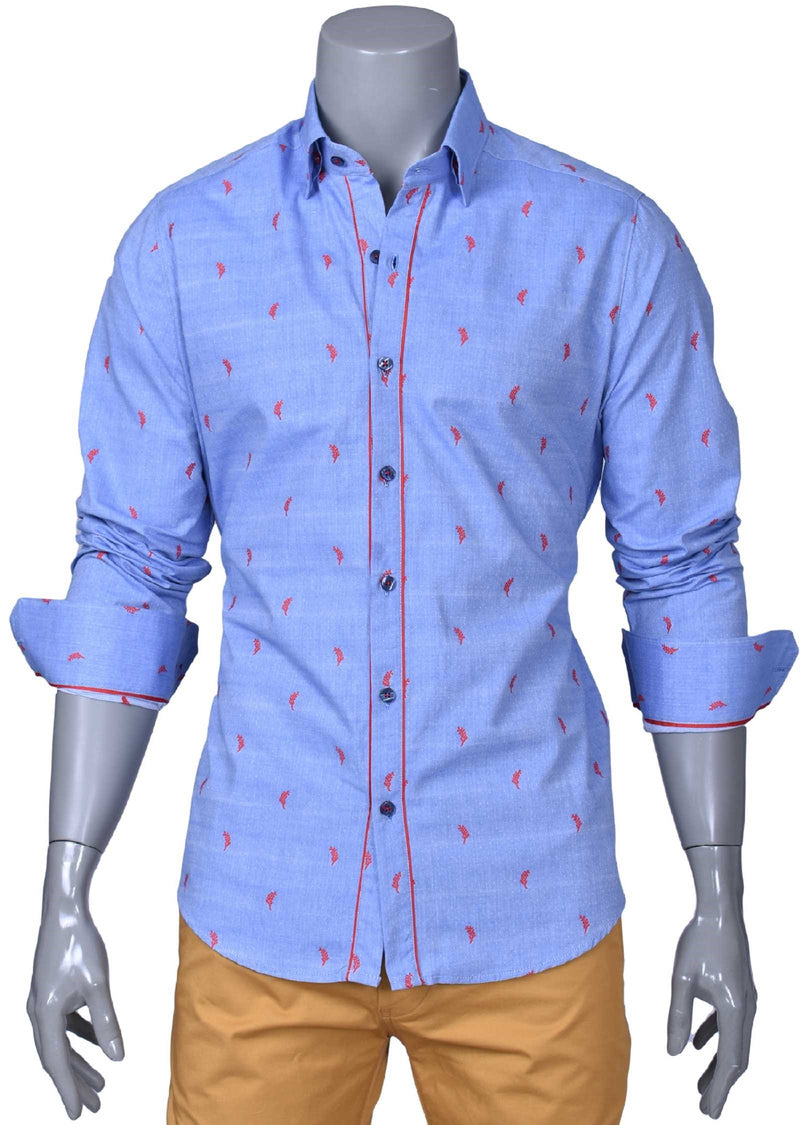 Blue Leaf Print Long Sleeve Shirt
