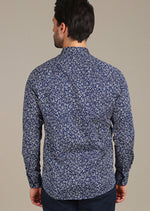"Blue Floral ""Azzolino"" Long Sleeve Shirt"